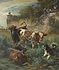 KOLLER, RUDOLF (1828 Zurich 1905) Cows on the, Rudolf Koller, Click for value