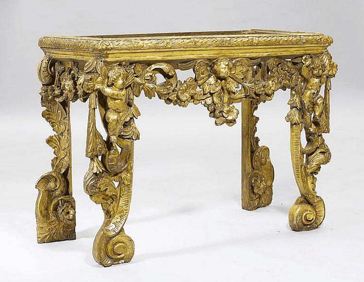 A BAROQUE CARVED CONSOLE, Italy, 18th c. Carved
