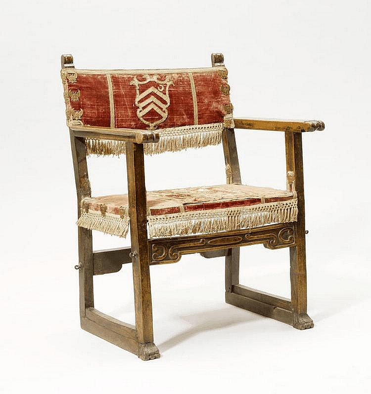 A RENAISSANCE ARMCHAIR, Italy. Carved and shaped