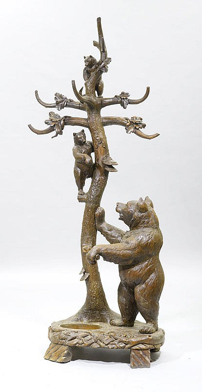 A HALL STAND IN THE SHAPE OF 3 BEARS, Brienz, 19th