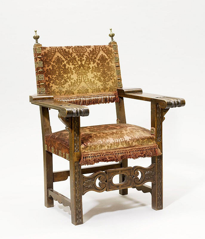 A CARVED WALNUT ARMCHAIR, Renaissance style,