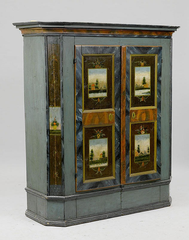 A PAINTED PINE ARMOIRE, Appenzell, circa 1820.