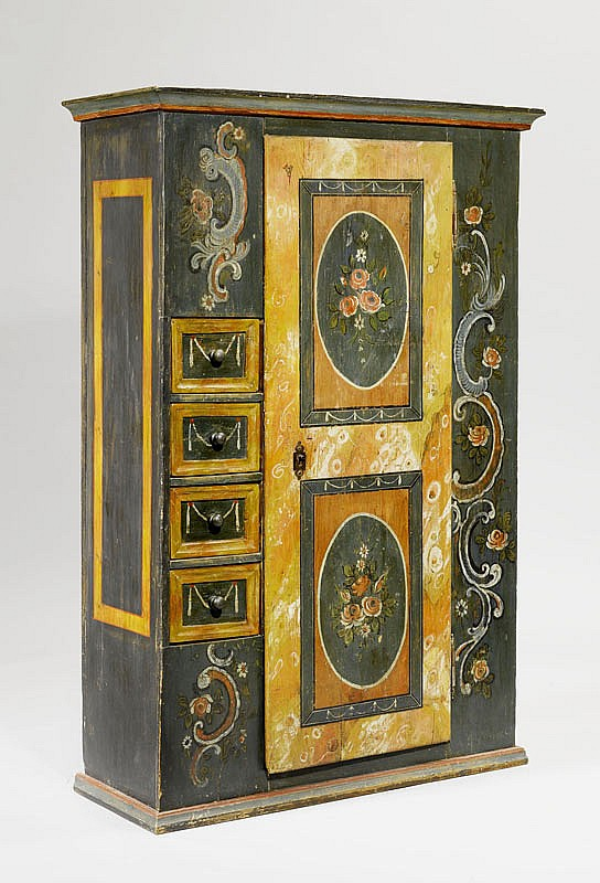 A PAINTED RUSTIC CUPBOARD, Toggenburg or
