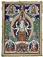 A THANGKA SHOWING THE ELEVEN-HEADED AVALOKITESHVARA.