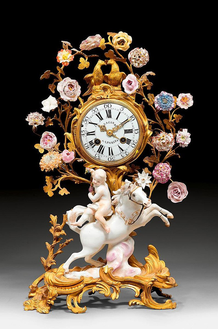 IMPORTANT CLOCK WITH PORCELAIN FIGURES, Louis XV,