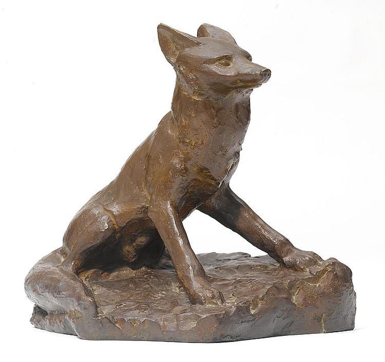 HAINARD, ROBERT. (1906 - 1999). Fox. Bronze with a