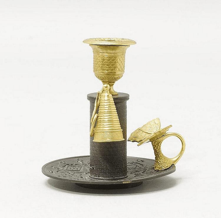 CANDLESTICK, 2nd Empire, 19th century. Parcel gilt