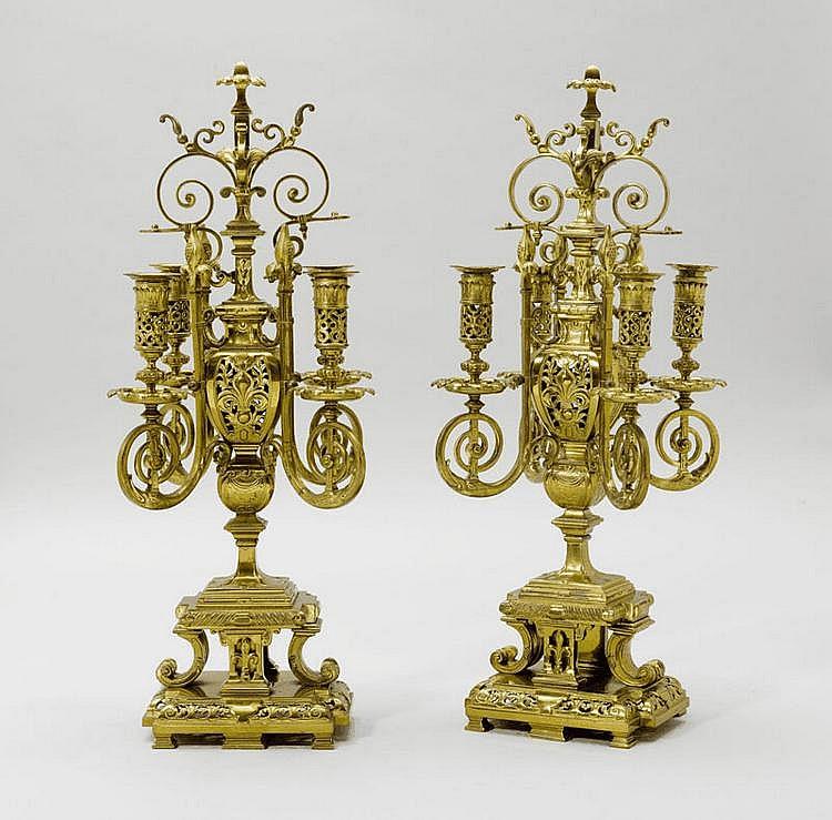 PAIR OF CANDELABRA, Napoleon III. Brass. H 61 cm.