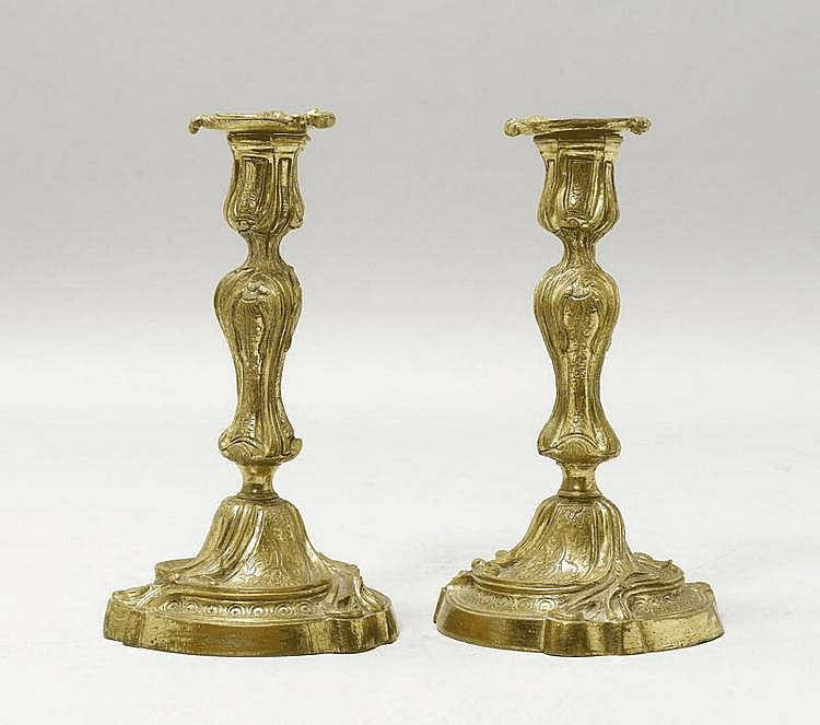 PAIR OF CANDLEHOLDERS, Louis XV style, late 19th
