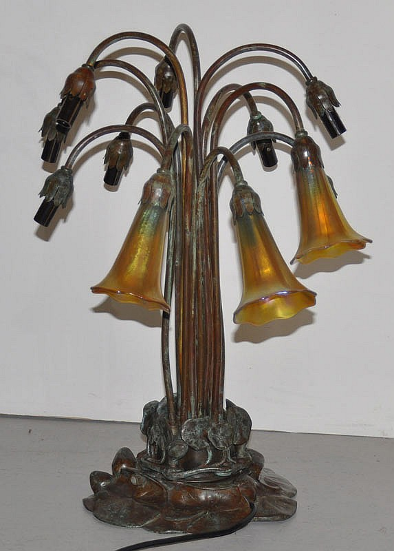 TABLE LAMP, in the style of Tiffany, late 20th
