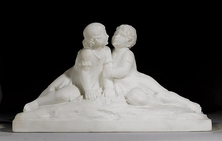 PAIR OF CHILDREN, Italy, 20th century., signed 'P.