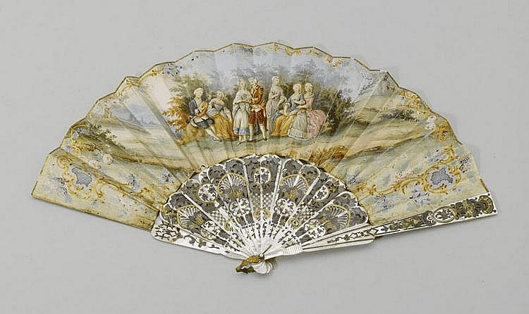 FAN, 19th century. Mother of pearl with fine
