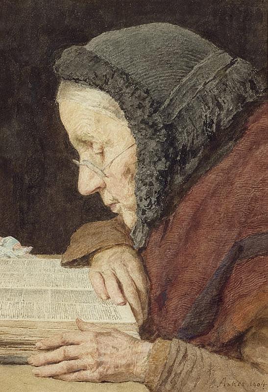 ANKER, ALBERT (1831 Ins 1910) Older woman reading