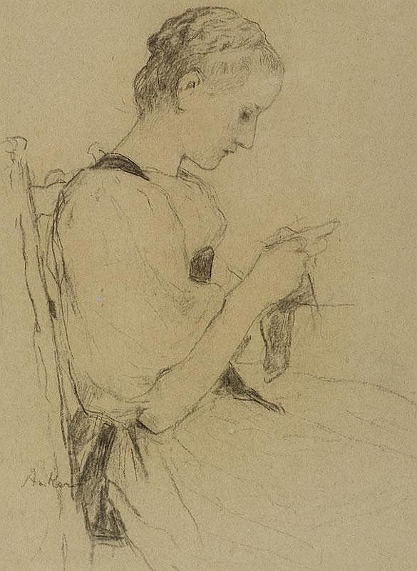 ANKER, ALBERT (1831 Ins 1910) Seated girl