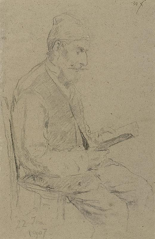 ANKER, ALBERT (1831 Ins 1910) Man reading. 1907.