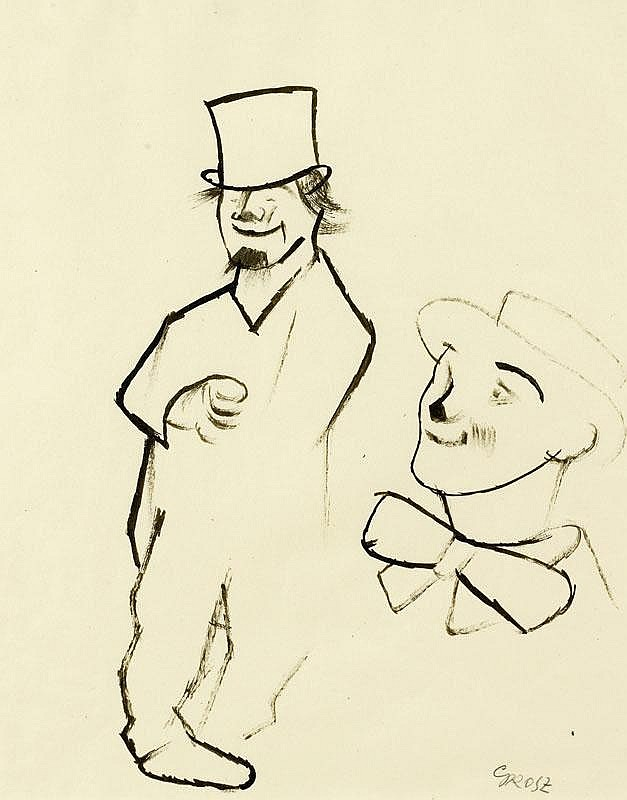GROSZ, GEORGE (1893 Berlin 1959) Two clowns. Circa