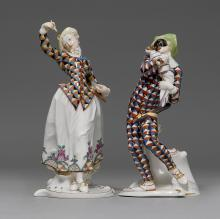 TWO COMMEDIA DELL'ARTE FIGURES 'MEZZETINO' AND 'LALAGE'.