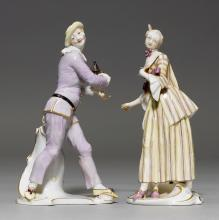TWO COMMEDIA DELL'ARTE FIGURES 'PIERROT' AND 'LUCINDA',