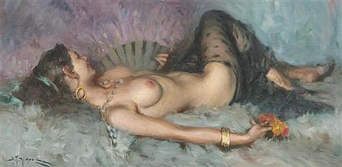 RICHARD, DURANDO TOGO (born 1910 in Argentina) Reclining female nude. Oil on canvas.
