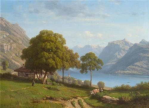 GEORGE-JULLIARD, HENRI-PHILIPPE (1818 Geneva 1888) Vue du lac d'Annecy. Oil on canvas.