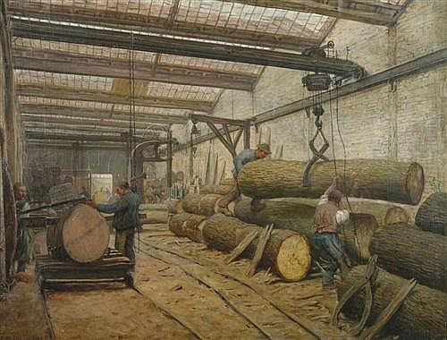 LUCKHARDT, KARL (1886 Frankfurt before 1956)  In the saw mill. 1922.