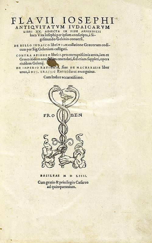 JUDAICA - Josephus, Flavius. Antiquitatum