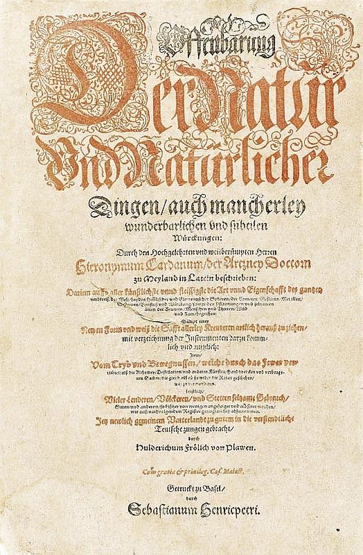 Cardanus, Hieronymus. Offenbarung der Natur und