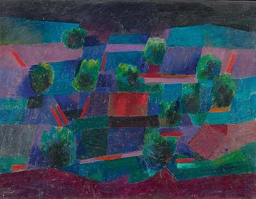 ITTEN, JOHANNES (Linden BE 1888 - 1963 Zürich) Moonlit landscape. 1958.