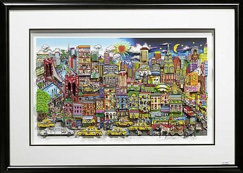 FAZZINO, CHARLES New York, night and day. Mixed Media, Multiples 39/50 DX.