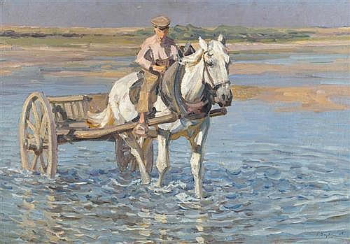 SEYLER, JULIUS (1873 Munich 1923) Horse and carts at the sea shore. 1906.