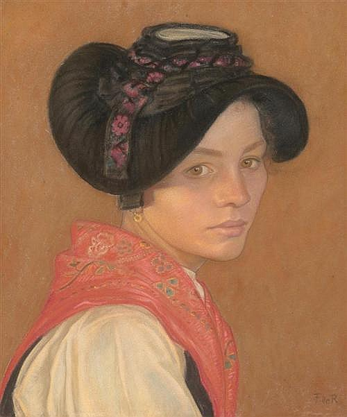 RIBEAUPIERRE, FRANCOIS DE (Clarens 1886 - 1981) Portrait of a Valais woman in three-quarter profile. Pastel on paper.