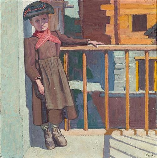 RIBEAUPIERRE, FRANCOIS DE (Clarens 1886 - 1981) Valais girl. Oil on canvas.