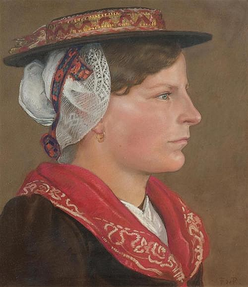 RIBEAUPIERRE, FRANCOIS DE (Clarens 1886 - 1981) Valais woman in profile with red shawl. Pastel on paper.