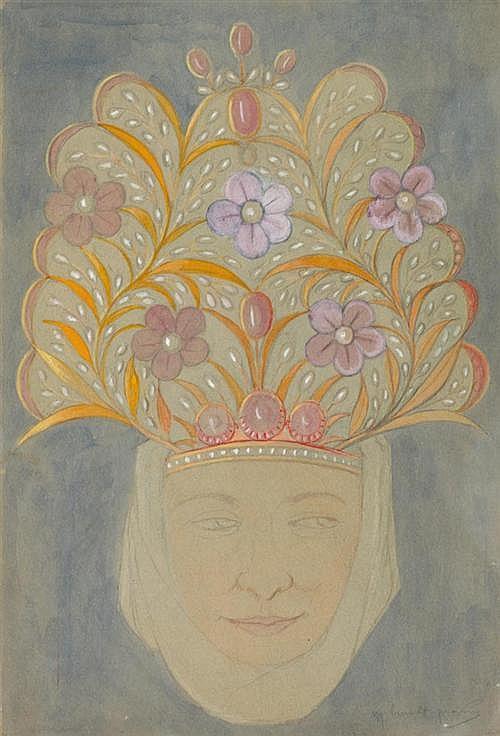 BURNAT -PROVINS, MARGUERITE (1872 Arras - 1952 Grasse) Femme avec coiffe à fleurs . Watercolour over pencil on paper.