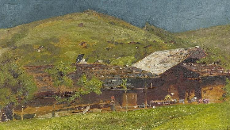 STÜCKELBERG, ERNST . (1831 Basel 1903). A farm.