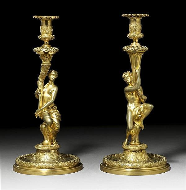 *PAIR OF CANDLE HOLDERS,late Louis XV, in the style of J.A. MEISSONIER (Juste Aurèle Meissonier, Turin 1693-1750 Paris), Paris, 19th ce