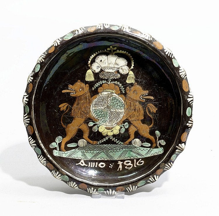 CERAMIC ARMORIAL BOWL,Heimberg, dated 1816.Slip