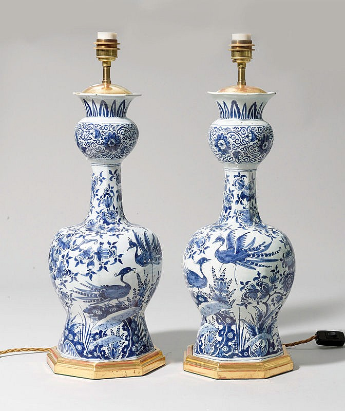 PAIR OF 'DELFTWARE ' FAIENCE LAMP BASES,Holland,