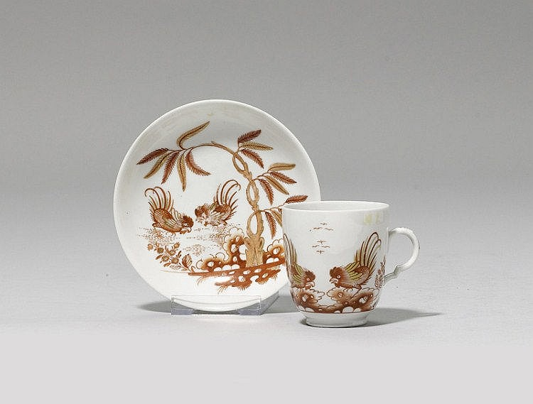 CUP AND SAUCER WITH EAST ASIAN DECORATION,Doccia,