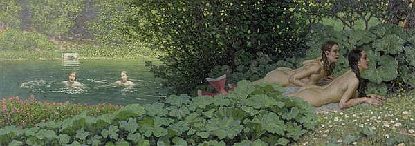 LENZ, MAXIMILIAN Panslieder I. 1928 / 1947. Öl auf Leinwand. 37 x 102,8 cm.