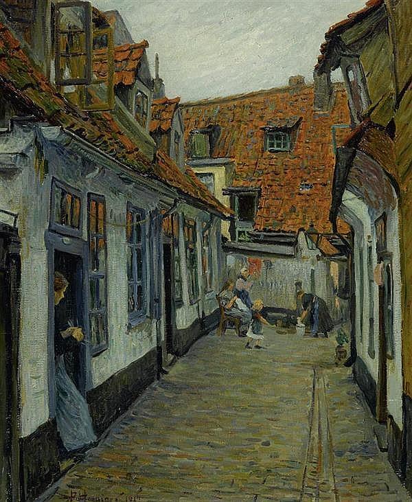 *HOENIGER, PAUL Dorfgasse. 1912. Öl auf Leinwand. 73,5 x 61 cm.