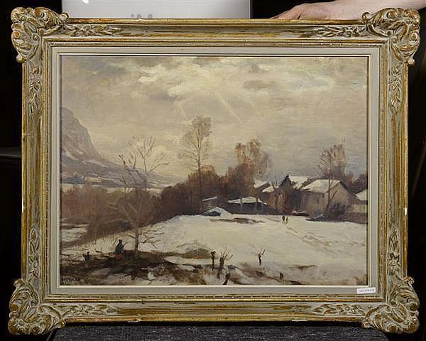 BRESSLER, EMILE Winterlandschaft. 1941. Öl auf Leinwand. 44,5 x 59,4 cm.