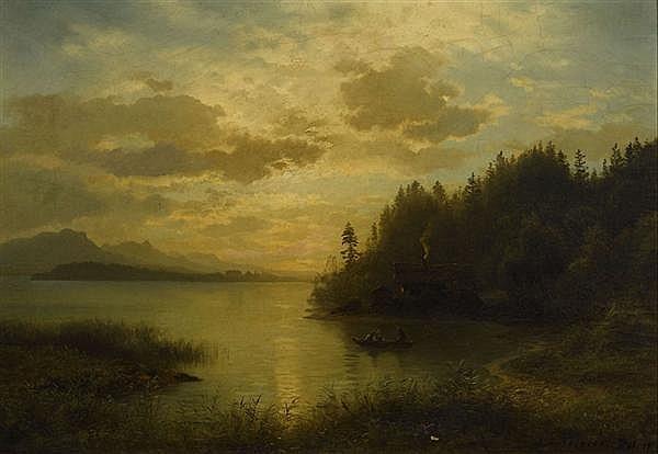 KESSLER, AUGUST FRIEDRICH Seelandschaft. 1860. Öl auf Holz. 50 x 70,5 cm.