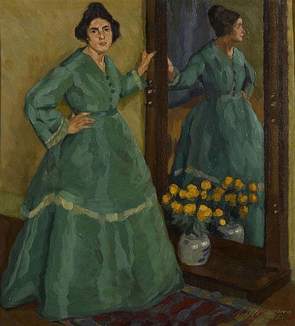 WIEGMANN, ALFRED (geboren 1886 in Essen) Stehende Frau im Spiegel. Öl auf Leinwand. 68 x 60 cm.