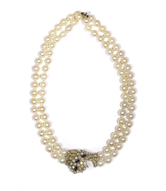 PEARL, DIAMOND AND SAPPHIRE NECKLACE.Yellow gold
