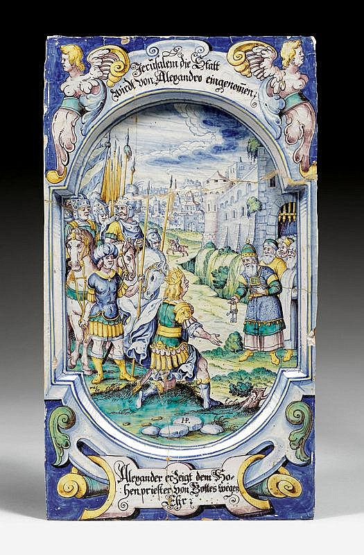 CERAMIC TILE,Winterthur, ca. 1670, signed HP for