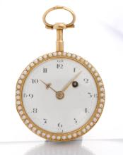 Gold and enamel pocket watch, ca. 1780.