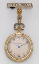 Enamel and diamond pendant watch, Tiffany, ca. 1910.