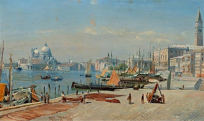 *DUNANT, MARC (1818 Genf 1888) Blick auf San Marco und Santa Maria della Salute in Venedig. Öl auf Karton. 29,2 x 48 cm.