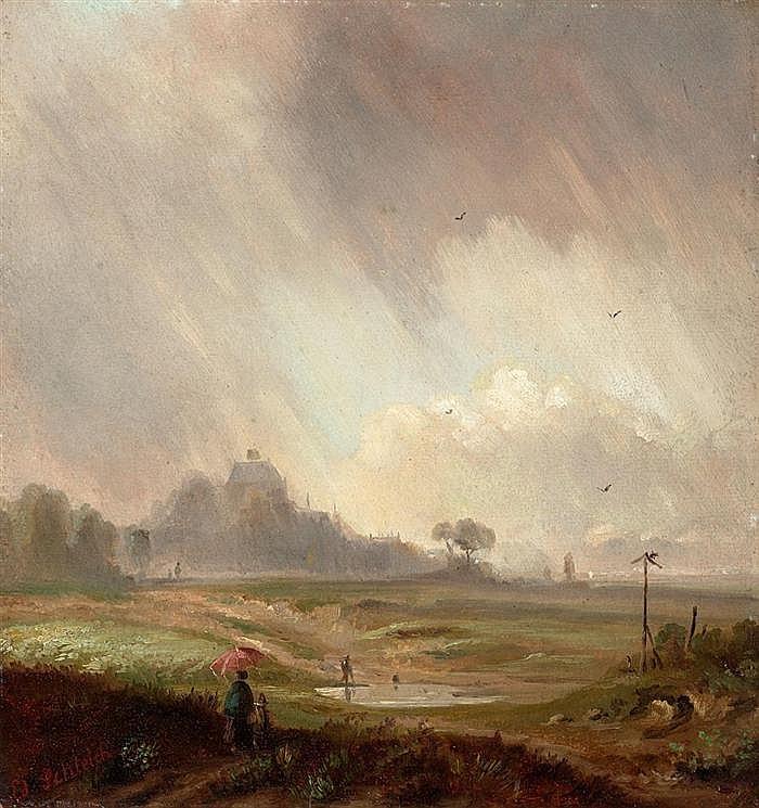 SCHLEICH, EDUARD d. J. (1853 München 1893) Aufziehendes Gewitter. Öl auf Karton. 34,6 x 32 cm.